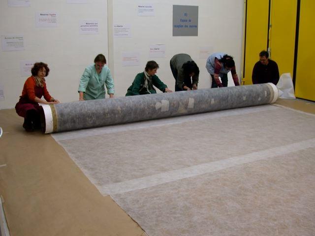 Six toiles de très grands formats  ainsi qu'un décor en plusieurs pièces ont été déroulés, étudiés et  roulés à nouveau pour être installés dans les nouvelles réserves externalisées du Musée de Valence selon une méthode mieux adaptée à la conservation préventive de ces œuvres.